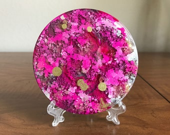 Resin Art, Art Piece, Desk Art, Desk Decor, Alcohol Ink Painting, Pink and Gold, Abstract Art, Fluid Art, Table Decor, Mother's Day Gift