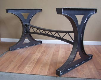 Industrial mechanical steel trestle dining table bar island base