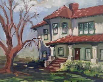 Oil Painting in plein air of Neff Park Home In La Mirada California