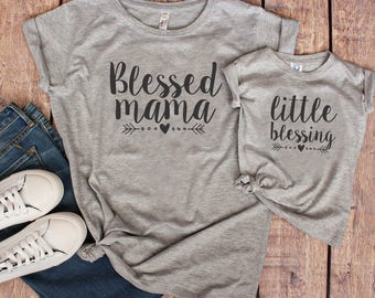 a5a25318 Blessed Mama Little Blessing Set, Blessed Mama and Mamas Blessing, Little  Blessing Shirt,
