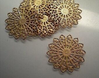 6 round brass filigrees, 1 inch