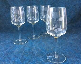 Vintage Toscany Crystal Etched Rose Water Goblets, Set of 4