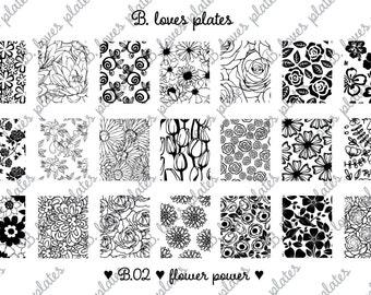 B.02 - flower power - nail stamping plates (B. Loves Plates)