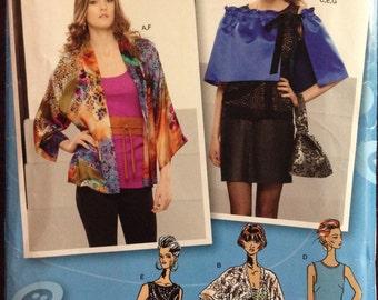 Simplicity 1726 - Kimono Jacket, Top, Capelet, Obi Belt and Purse - Size XS S M L XL