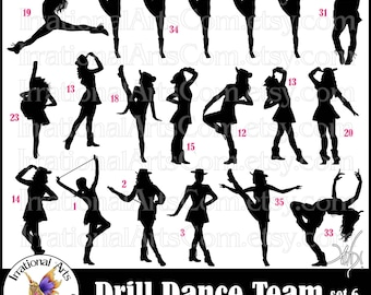 Drill Dance Team Silhouettes set 6 - 12 png digital graphics