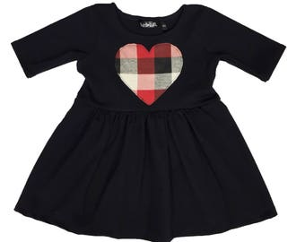 Red, White, Black Plaid Heart Patch Dress - Toddler Dress - Baby Dress - Girls Dress - Toddler Outfit - Baby Outfit - Baby Gift Idea
