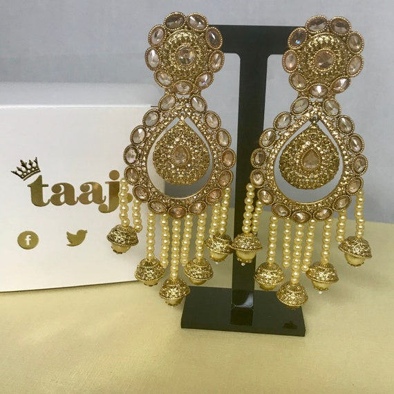 Riyah Large gold and pearl strand zirconia earrings , Pakistani jewellery indian bridal