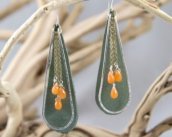 Hammered Sterling Silver Drop Earrings with Tangerine Jade Dangles and Green Leather Teardrop Earrings Bridesmaids Bridal Shower Minimalist
