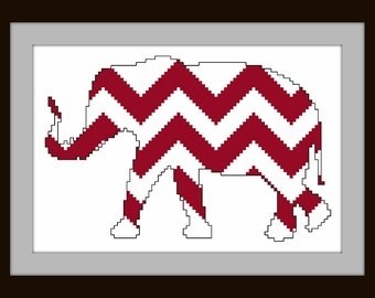 Chevron elephant - counted cross stitch chart - downloadable file