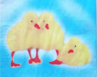 x 20 patterns chicks colors yellow and blue art-paper napkins  3639