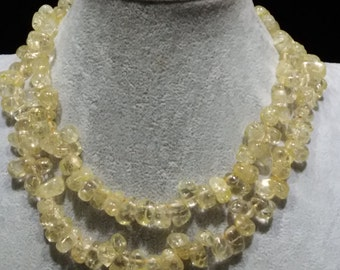 Yellow long amethyst  necklace