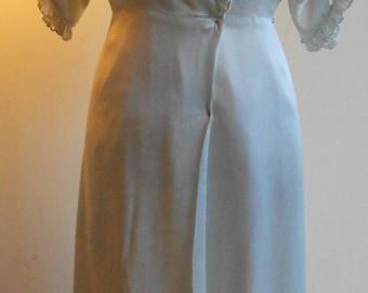 "1930's, 34"" bust, foam green, silk satin wrap robe."