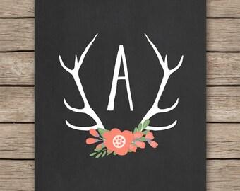 Nursery printable letters baby nursery monogram initial art print, customized personalized wall decoration, deer antler decor  DIGITAL FILE