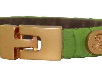 Python Bracelet, Python Cuff, BAJ 496 G Green matte