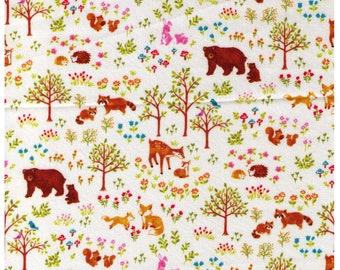 HALF YARD Cosmo Textile  - Forest Families on IVORY SP1800 3A - Bear, Deer, Hedgehog, Raccoon, Fox - Japanese Import