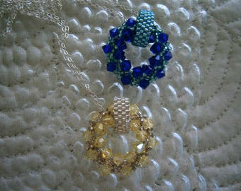 Beaded Peyote Stitch and Swarovski Crystal Pendant with Sterling Silver Chain, Choice of Colors