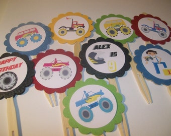 Monster Truck Cupcake Toppers set of 12