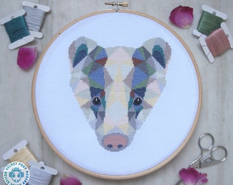 Badger Cross Stitch Pattern PDF, Geometric Animals Embroidery Design, Modern Cross Stitch Chart, Cute Needlepoint, Original Cross Stitch