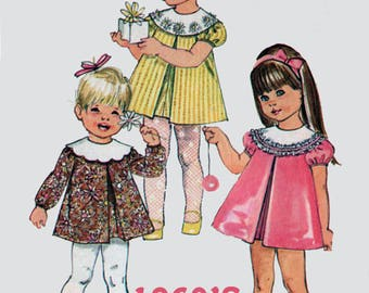 Vintage 1960s Girls Dress Pattern Simplicity 7917 Girls Tent Dress Front Pleat Round Detahable Collar Childrens Sewing Pattern Size 1