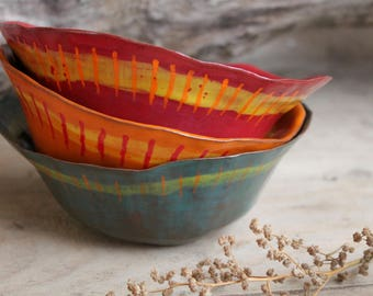 """Pottery Cereal Bowl Bowl """"kunterbunt and crooked"""" in many colors"""