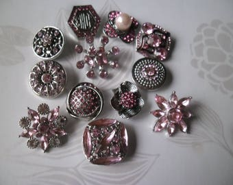 x 12 mixed snaps (jewelry) patterned antique silver metal rose tone rhinestone