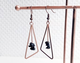 Earrings 'Lisa' - Black agate gemstones, rose gold triangle earrings - Boho chic, minimalist, geometrical, gift for her - Handmade jewelry