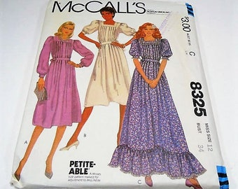 McCall's Misses' Dress Pattern 8325 Size 12