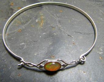 Opal Bangle Ethiopian Opal Bracelet Sterling Silver Bangle Ethiopian Opal Bangle
