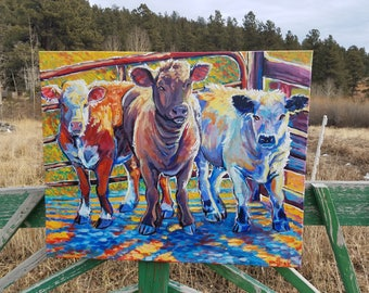 Show calves club cow cattle painting