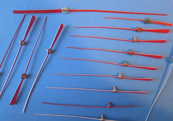 22 Assorted New Red Aluminum  Clock Second Hands  for your Clock Projects, Steampunk Art, Jewelry Making...