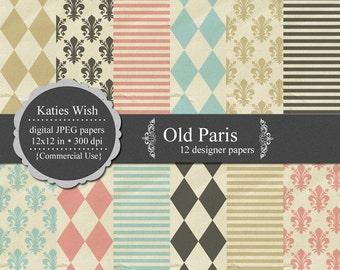 Instant Download Digital Paper Kit Old Paris Commercial Use jpg set of backgrounds
