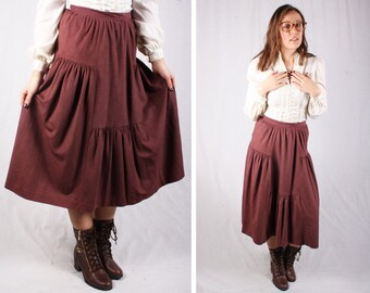 70s Boho Maroon Prairie Skirt / Size Small