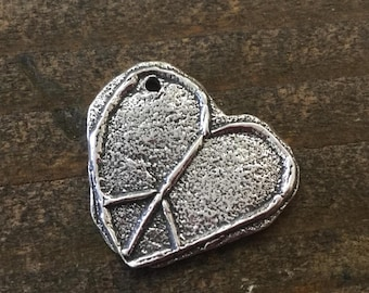 Peace Sign Heart Full of Peace Charm Sterling Silver