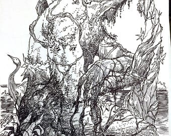 Swamp Thing drawing by Steve Lieber