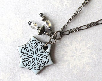 SALE! Snowflake Necklace. Sky Blue. Black Porcelain. Light Blue. Winter Jewelry. Snow. Gunmetal Chain. Crystal Clear Glass Beads. Ceramic