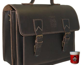 Briefcase COPERNICUS made of natural leather - BARON of MALTZAHN