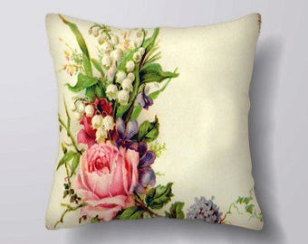 Vintage rose Flowers   - Customizeable Personlized   -Cushion Cover Case Or Stuffed With Insert