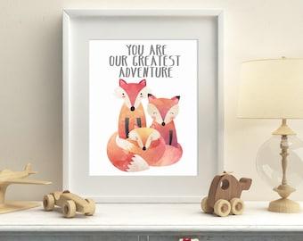 Fox family nursery printable art, you are our greatest adventure digital print, kids room wall art, fox nursery wall decor, download