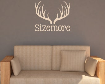 Rustic Antlers Family Name Monogram Decal - Cabin Wall Decor - Cabin Wall Decals - Antlers Wall Decal