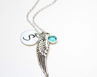 angel wing necklace, remembrance necklace, remembrance jewelry, angel wing jewelry, angel wing intial necklace, angel wing intial jewelry