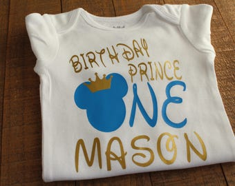 Personalized Mickey Mouse Birthday Onesie- 1st Birthday Onesie- Birthday Prince- Boys Birthday Onesie/ Shirt- Mickey Mouse Birthday Outfit
