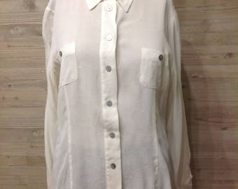 SALE,Vintage 90s Cream white Shirt Blouse long sleeves Buttoned Collar Shirt loose top viskose Germany Shirt miss tt,Party Business,size M