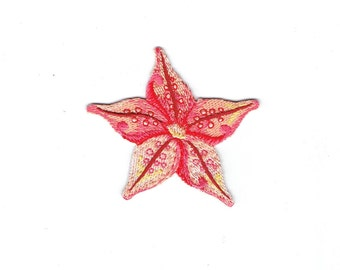 Starfish - Tropical - Pink/Coral - Sea Star - Iron on Applique - Embroidered Patch - 697998-A