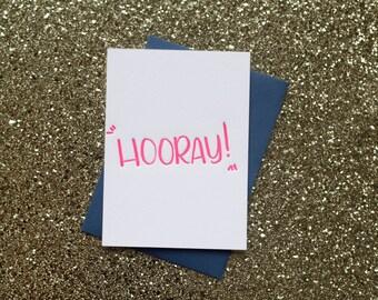 Hooray Letterpress Flat Note Card