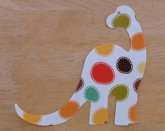 Dinosaur #1 - Iron on Fabric Applique - 11cm x 10cm large fabric iron on dinosaur, made to order, choose your fabrics, ships from UK