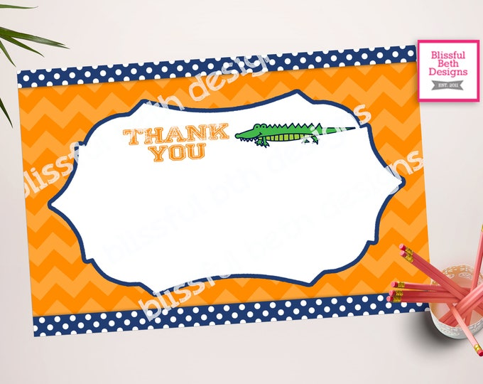 GATOR THANK YOU Gator Printable Thank You Notes, Instant Download, Instant Gator Thank You Note, Thank You Note, Gator Note