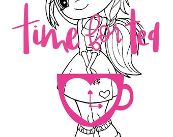 Sweetheart Digital Stamp Papercraft Line Drawing Illustration, Paper Craft, Adult Colouring, card making, Valentines Day, girl stamps