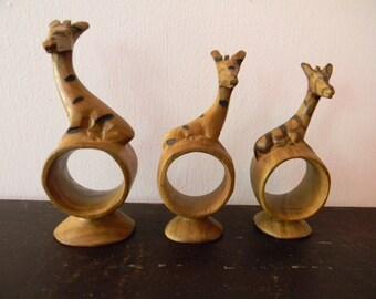 Vintage Three Wood Carved Giraffes Napkin Rings