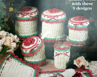 Crochet Patterns Country Rose Hostess Set House of White Birches 101076 Place Mat Hot Mat Napkin Ring Canister Set Paper Original NOT a PDF