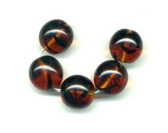 2 beads 14 mm glass - smoked Topaz color